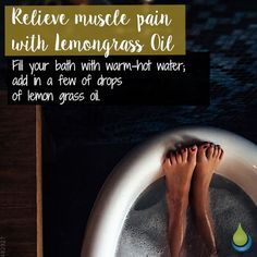 Relieve muscle pain with Lemongrass Oil 🌸🌸🌸 Fill your bath with warm-hot water; add in a few of drops of lemon grass oil. Lemongrass Oil, Lemon Oil, Muscle Pain, Lemon Grass, Fill, Essential Oils, Bath, Instagram, Muscle Soreness