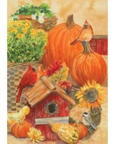 Custom Decor Cardinals U0026 Pumpkins Fall House Flag From Discount Decorative  Flags | BHG.com