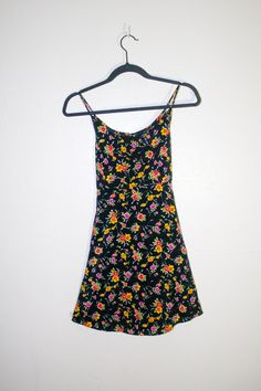 90s black floral summer dress, 1990s spring fashion flowers yellow pink hipster soft grunge urban outfitters 2014 spaghetti strap