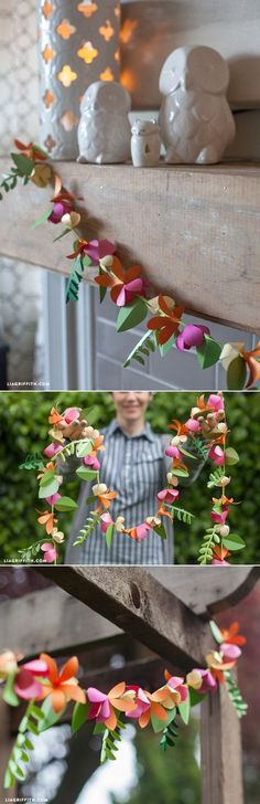 I love this paper flower garland! It will make cute spring decor or decorations for an outdoor summer party! Free tutorial.