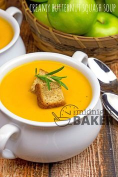 """Butternut squash just screams """"fall."""" Enjoy it in this creamy soup! Butternut And Winter Squashes You know autumn has arrived when you see butternut and other winter squashes prominently featured in your grocery store. Of course, they are available year round, just like summer squashes, but there is something so traditional with butternut squash and...Read More »"""