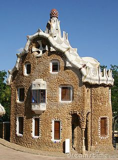 One of the houses in Park Güell designed by Antoni Gaudi, Barcelona, Spain