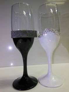 Hand Painted Wedding Glasses  Wine Glasses  by GlassFtMirrors, $36.00