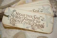 """Beach Gift Tags """"Near the Sea We Forget to Count the Days"""" by Shabby Pea Designs on Etsy Beach Bum, Ocean Beach, Project Life, Beach Quotes, Ocean Quotes, Coral, Beach Gifts, I Love The Beach, Thing 1"""