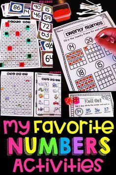 Numbers activities Preschool Math, Math Classroom, Kindergarten Activities, Number Sense Activities, Math Games, 1st Grade Math, First Grade, Learning Numbers, Math Centers