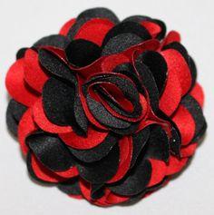 Zenio Black and Red Lapel Rose