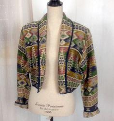 New Identity Southwestern Indian Blanket Crop Jacket Coat Vintage Tapestry #NewIdentity