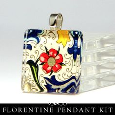 Kit to make glass pendants...Use a picture of loved ones to hang on bouquet instead of paper