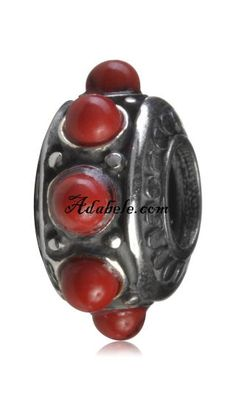 This beautiful red stone flower .925 Sterling Silver European charm fits Pandora, Biagi Trollbeads, Chamilia, and most charm bracelets find out more at adabele.com