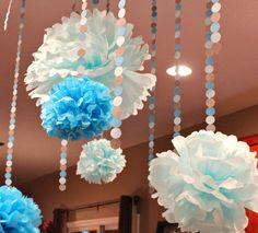 5 Tissue Paper Poms /  13 Paper Dot Garland / by rachelpartydecor