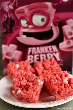 Frankenberry Krispies | Cravings of a Lunatic | Cute, tasty and spooktacular! These Franken Berry Krispies are perfect for kids and adults. ...