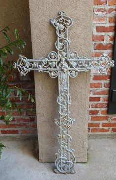 TALL Antique French Cast Iron Cross Crucifix ~Chapel Garden WALL ~Mary ~Saint