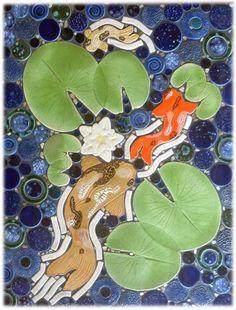 Decorative ceramic tile, hand made tiles in koi pond tiles, goldfish tiles, and lily pond ceramic tiles