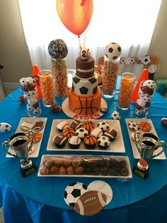 Sports Birthday Theme   Dessert Table For Aydenu0027s 2nd Birthday   Basketball  Baseball Soccer Football