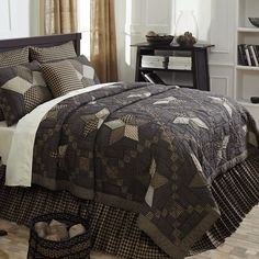Farmhouse Star King Quilt 97x110 Farmhouse Star Hand Quilted Patchwork Quilt…