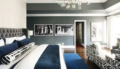 Love this gender neutral bedroom with that fun black and white couch lounge daybed and the mix of grey, blue, black and white.