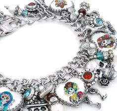 Day of the Dead Charm Bracelet, Dia de los Muertos Heart Charm Bracelet, Day of the Dead Jewelry, Halloween Bracelet, Sugar Skull jewelry, day of the dead bracelet - Blackberry Designs Jewelry