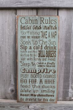 Laser engraved Custom Cabin Lake River Cottage Rules by Wildoaks