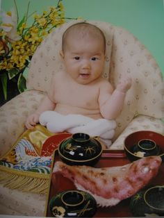 Okuizome お食い初め is a Japanese ceremony to celebrate the 100th day of a baby's birth.