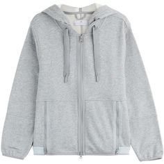Adidas by Stella McCartney Cotton-Blend Hoodie ($72) ❤ liked on Polyvore featuring outerwear, hoodies, tops, jackets, grey and adidas