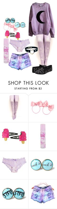 """pastel goth (???????)"" by red-foxess-and-wolf ❤ liked on Polyvore featuring H&M and Cotton Candy"