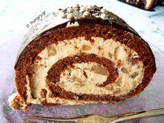 Kitchen Stories: Chocolate Roll with Chestnuts Pistachio Cookies, Walnut Cookies, Almond Cookies, Chocolate Roll Cake, Chocolate Filling, Delicious Chocolate, Galaktoboureko Recipe, Broken Biscuits, Syrup Cake