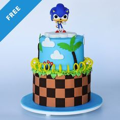 Video game cakes can get detailed and complicated quikly but in this Sonic Cake tutorial, Liz teaches you her time-saving tricks for success! Sonic Birthday Cake, Sonic Birthday Parties, Sonic Party, Birthday Cookies, Birthday Stuff, 4th Birthday, Bolo Sonic, Sonic Cake, Cake Decorating Books
