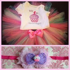 SALE First Birthday Outfit Tutu Cupcake Onesie and Headband, Birthday Outfit, Cupcake Princess Set on Etsy, $32.00