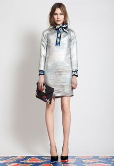 MSGM Pre-Fall 2012 silver paired with black & blue floral
