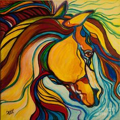 Colorful Horse by Susan Cliett - Colorful Horse Painting ...