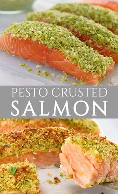 This pesto salmon fillets are baked in the oven, and are topped with a crust of basil pesto, panko crumbs and parmesan. One of my favourite easy salmon recipes, this is a perfect quick dinner option! Pesto Salmon Baked, Salmon With Avocado Salsa, Baked Salmon Recipes, Salmon Pasta, Fish Recipes, Seafood Recipes, Baking Recipes, Dinner Recipes, Salmon Dishes
