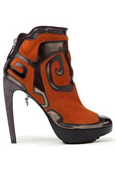 LaRare Orange Brown Curved Heel Boots Fall 2012 #Booties #Shoes #Heels