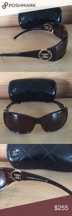 Authentic CHANEL sunglasses Brown CHANEL sunglasses with the iconic CHANEL logo in gold on the sides - glasses are in great condition - only show tiny signs or wear on the gold and that is only seen when closely examined - I have taken great care of these beautiful glasses! CHANEL Accessories Glasses