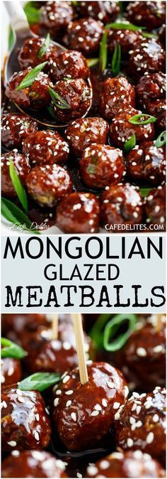 Tender Mongolian Glazed Meatballs are not only FILLED with Asian flavour -- they are smothered in the BEST homemade Mongolian sauce to wow your guests!   cafedelites.com