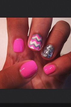 Pink and silver chevron