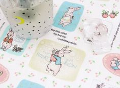 Laminated Lovely Rabbits Pattern Cotton Fabric by by luckyshop0228