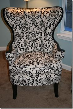 Many before and after furniture rebirths, links to reupholstering blog also. Reupholstered wing-back chair