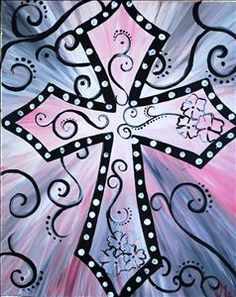 Pink Country Cross (pick your colors) - New Braunfels, TX Painting Class - Painting with a Twist