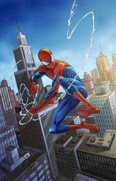 Spider Man Swinging Through The City by royhobbitz Spiderman Pictures, Spiderman Movie, Amazing Spiderman, Spiderman Marvel, Avengers, Batman, Marvel Comics, Marvel Art, Marvel Heroes