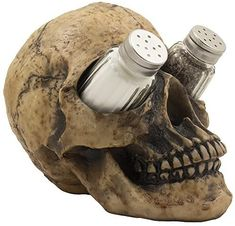 Scary Evil Human Skull Salt and Pepper Shaker Set Figurine Display...