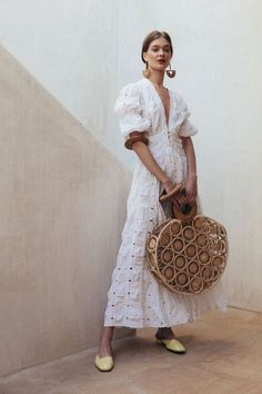 white dress, romantic dress, strawbag