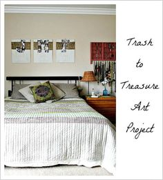 trash to treasure art project for bedroom walls