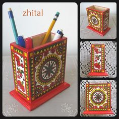 STAND FOR PENS / Pencil holder /folkart / Pencil by onestroke08