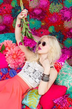 Fluorescent May - Hannah Holman taps into her inner rocker for the May lookbook from online retailer, Nasty Gal. Shot against an explosion of colorful