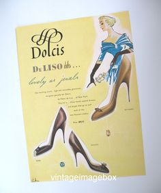 DOLCIS Shoes advert, 1950s English advertising, retro 50s picture decor, Mid Century fashion illustration, vintage costume artwork graphics by VintageImageBox on Etsy https://www.etsy.com/listing/159978870/dolcis-shoes-advert-1950s-english