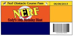 Nerf birthday party pass