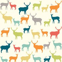 Birch Fabrics ELK FAMILY Multi, Woodland Deer Silhouettes - ORGANIC Woven Cotton Quilt Fabric - by the Yard