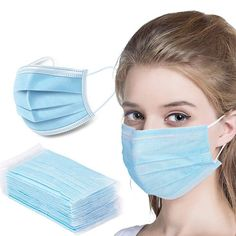 Disposable Face Mask Antiviral Medical Surgical Mask with Earloop Polypropylene Masks for Personal Health - 20 Pieces (Blue) Easy Face Masks, Homemade Face Masks, Eye Masks, Beauty Dust, Breathing Mask, Mouth Mask, Ear Loop, Personal Care, Stuff To Buy