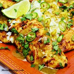 Coconut Lime Chicken with lime, cumin, soy, curry powder, coconut milk, sliced serrano, & cilantro