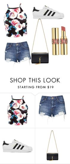 """fun in the sun"" by gracemccandless ❤ liked on Polyvore featuring Topshop, adidas, Yves Saint Laurent, women's clothing, women's fashion, women, female, woman, misses and juniors"